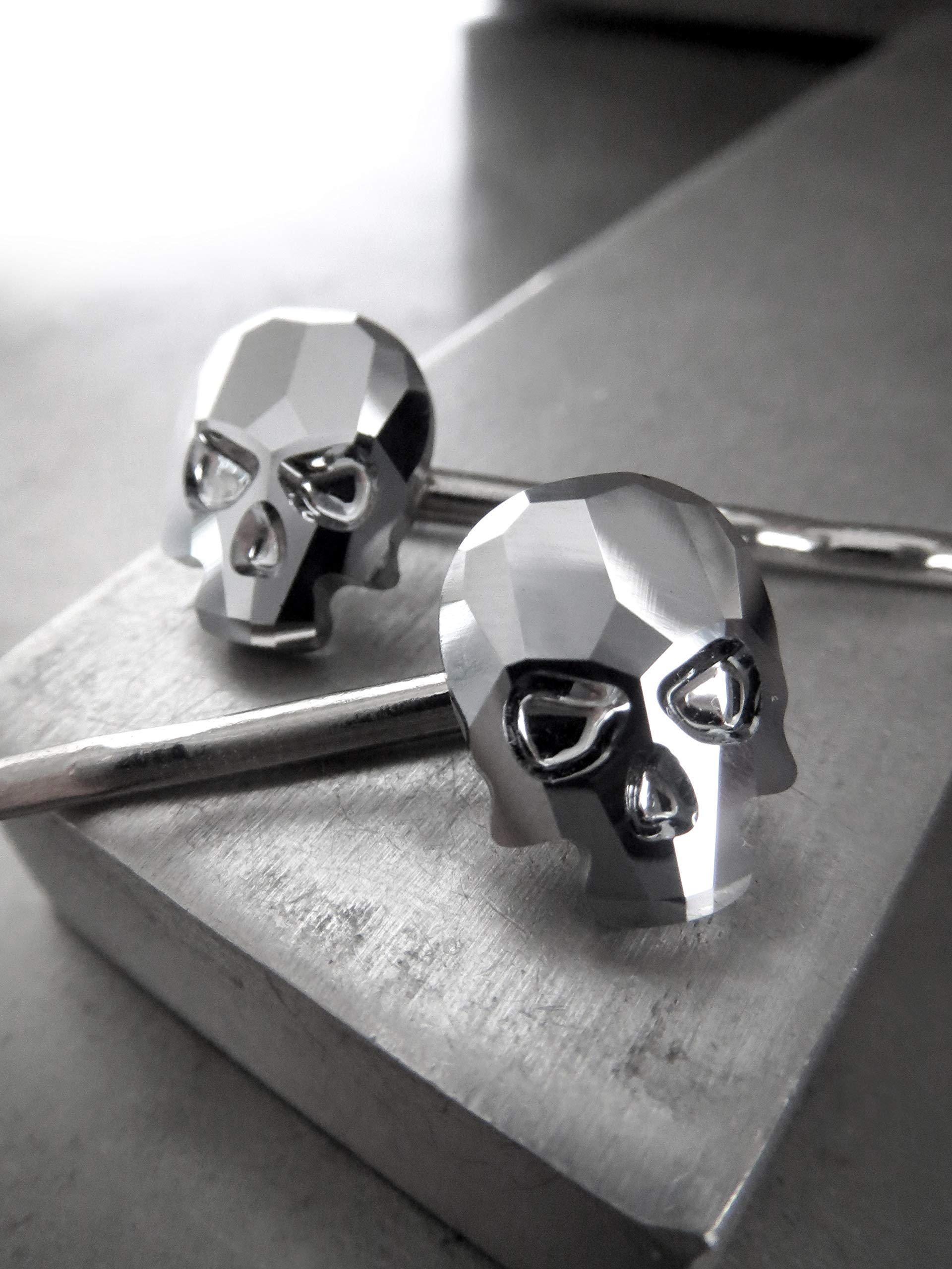 Swarovski Crystal Skull Hair Pins in Metallic Chrome - Set of 2 - Gothic Halloween Jewelry