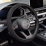 KAFEEK Steering Wheel Cover,Warm in Winter and Cool in Summer, Universal 15 inch, Microfiber Breathable Ice Silk, Anti-Slip, Odorless, Easy Carry,Black