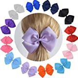 Cute Extra Large Hair Bow Set with Ruffled Grosgrain Fabric For Women Baby Girls (Pack Of 12)