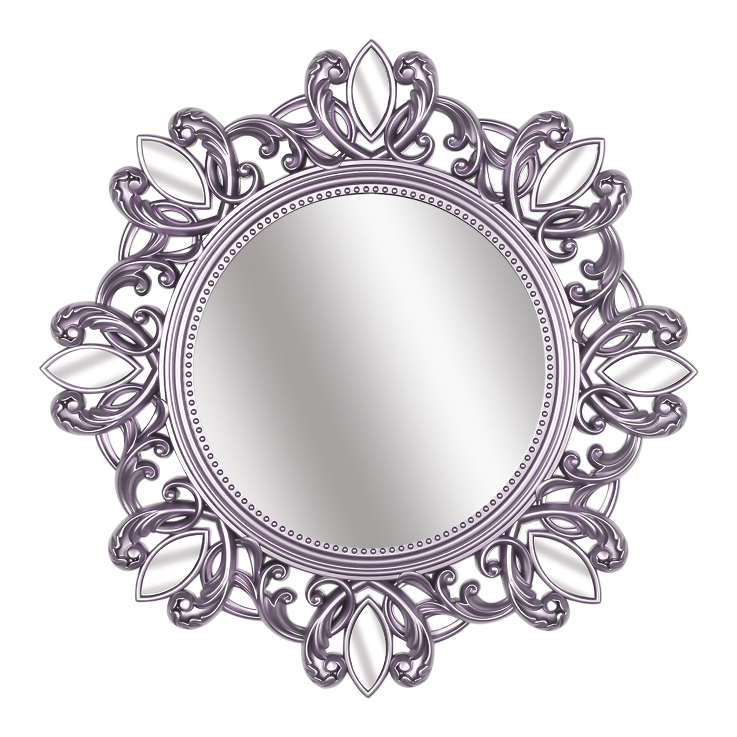 Hosal Gold Round Vintage Wall Mirror, Glamorous Patterned Frame Mirror, Decorative Mirror for Hallway Bedroom, Size 24''x24'' (Silver)
