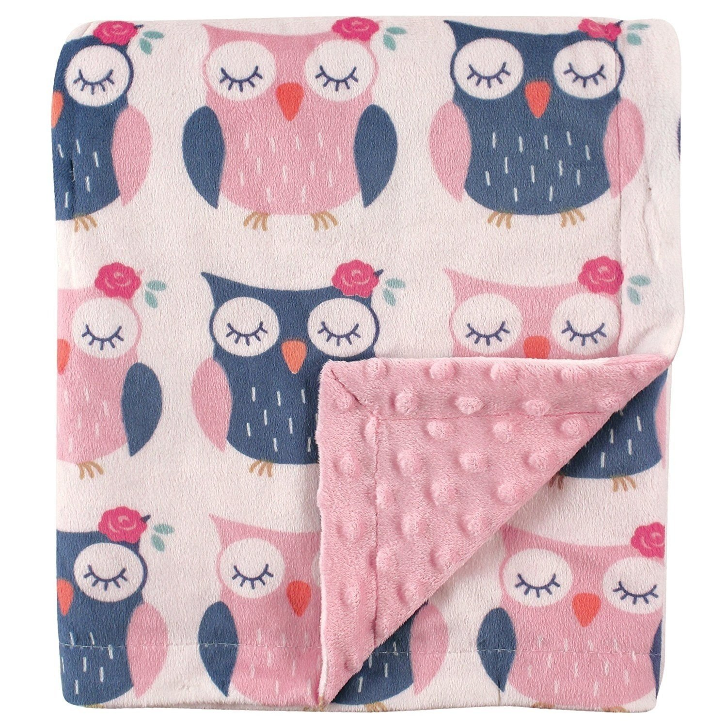 TN 1 Piece Baby Girls Pink Blue Grey Owls Crib Blanket, Newborn Forest Themed Nursery Bedding, Woods Nature Wildlife Flowers Floral Chenille Swaddle Cozy Soft Cute Adorable, Cotton