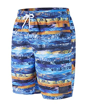fa56af1c9f Speedo Men Printed Leisure Watershorts, Blue/Orange, X-Small/18 inch