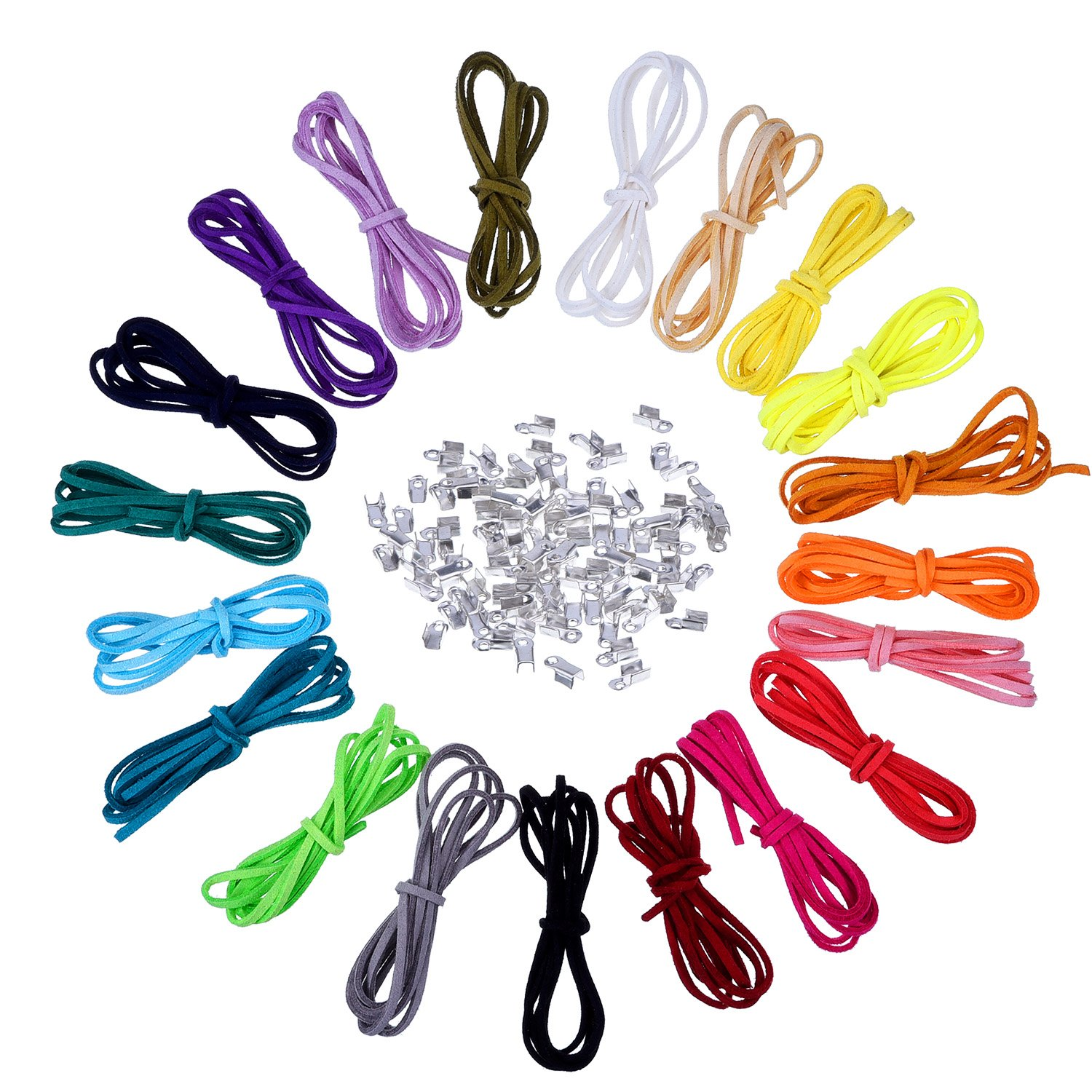 3 mm Leather Cord Faux Suede String Threads with 100 Pieces Silver Cord Ends, 1 Meter, 20 Colors Outus 4336807323