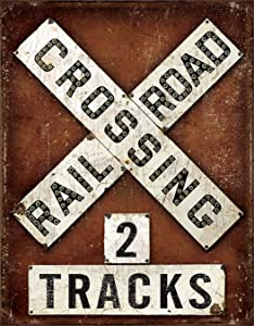 "Desperate Enterprises Railroad Crossing Tin Sign, 12.5"" W x 16"" H"