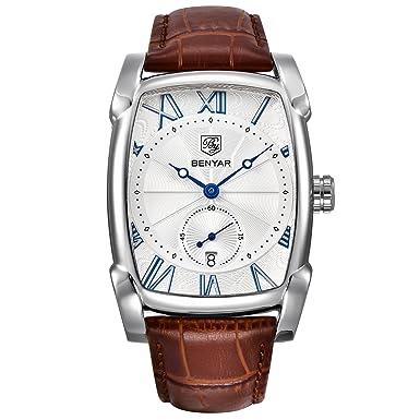 Men Leather Strap Classic Rectangle Case Quartz Watch Business Waterproof Wrist Watch