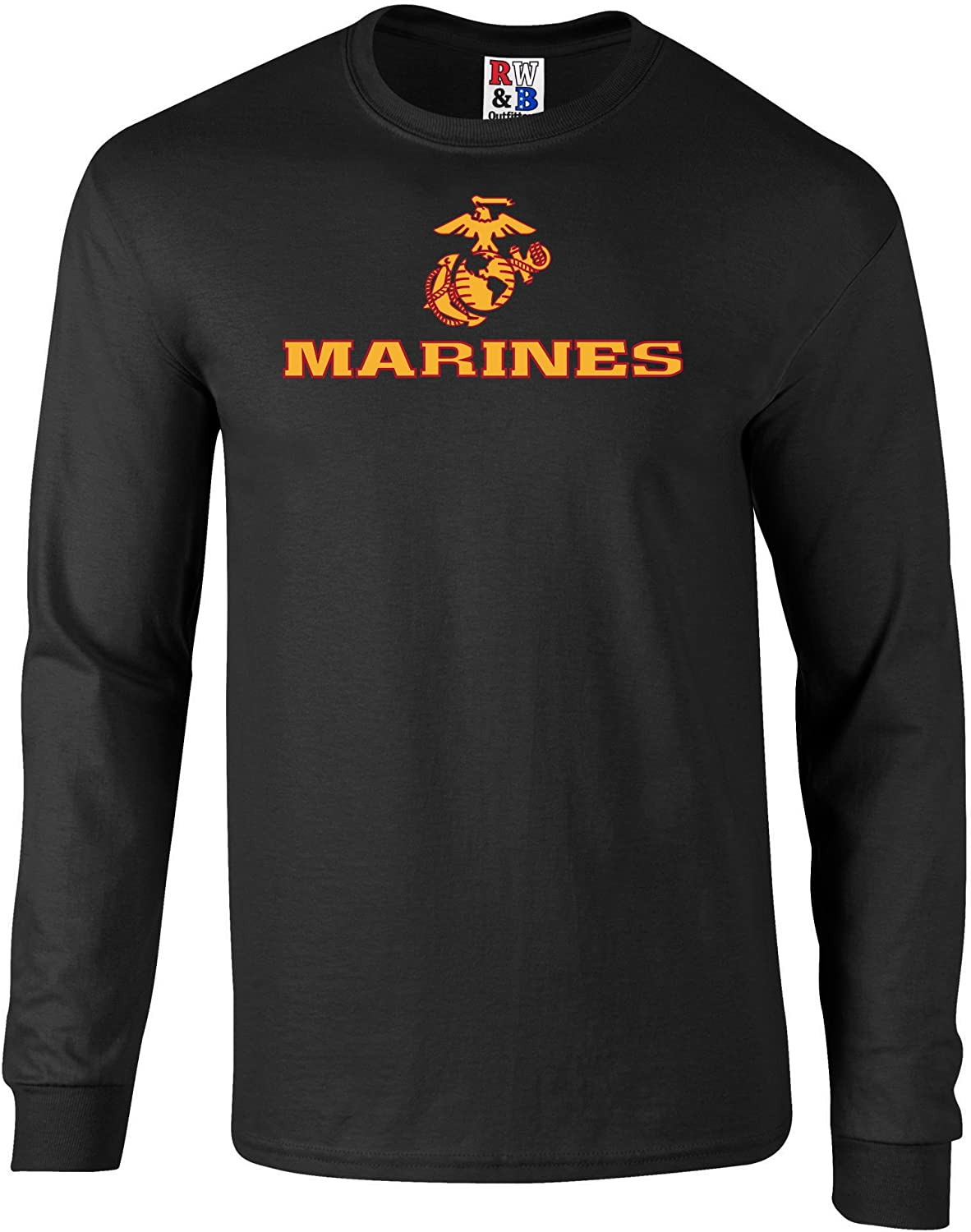 US Marines Two Tone Logo Graphic Long Sleeve Officially Licensed T Shirt