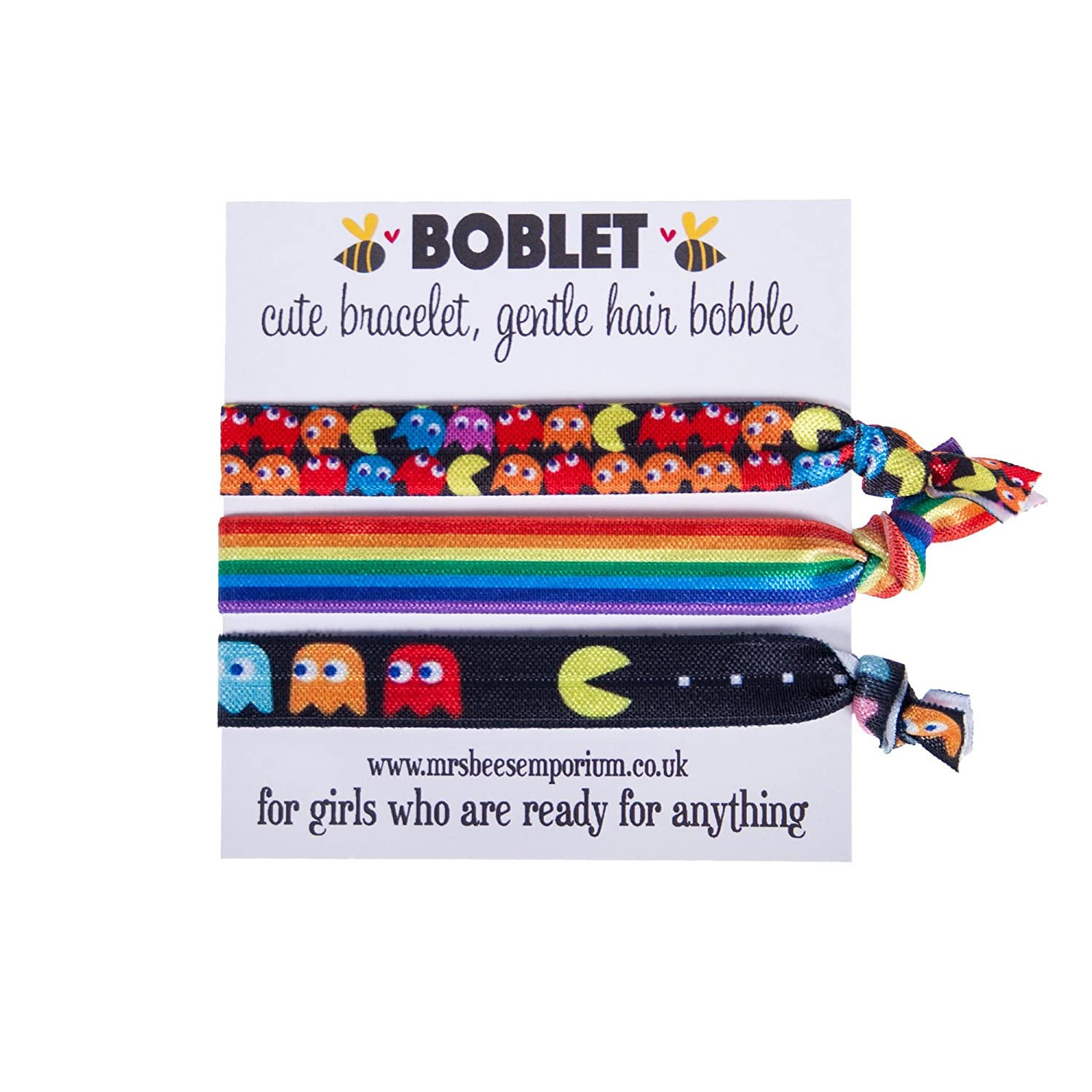Double Pacman Boblets- Bracelets Hair Bobble Elastic Knotted Ponytail Soft Elastic Ouchless Rainbow