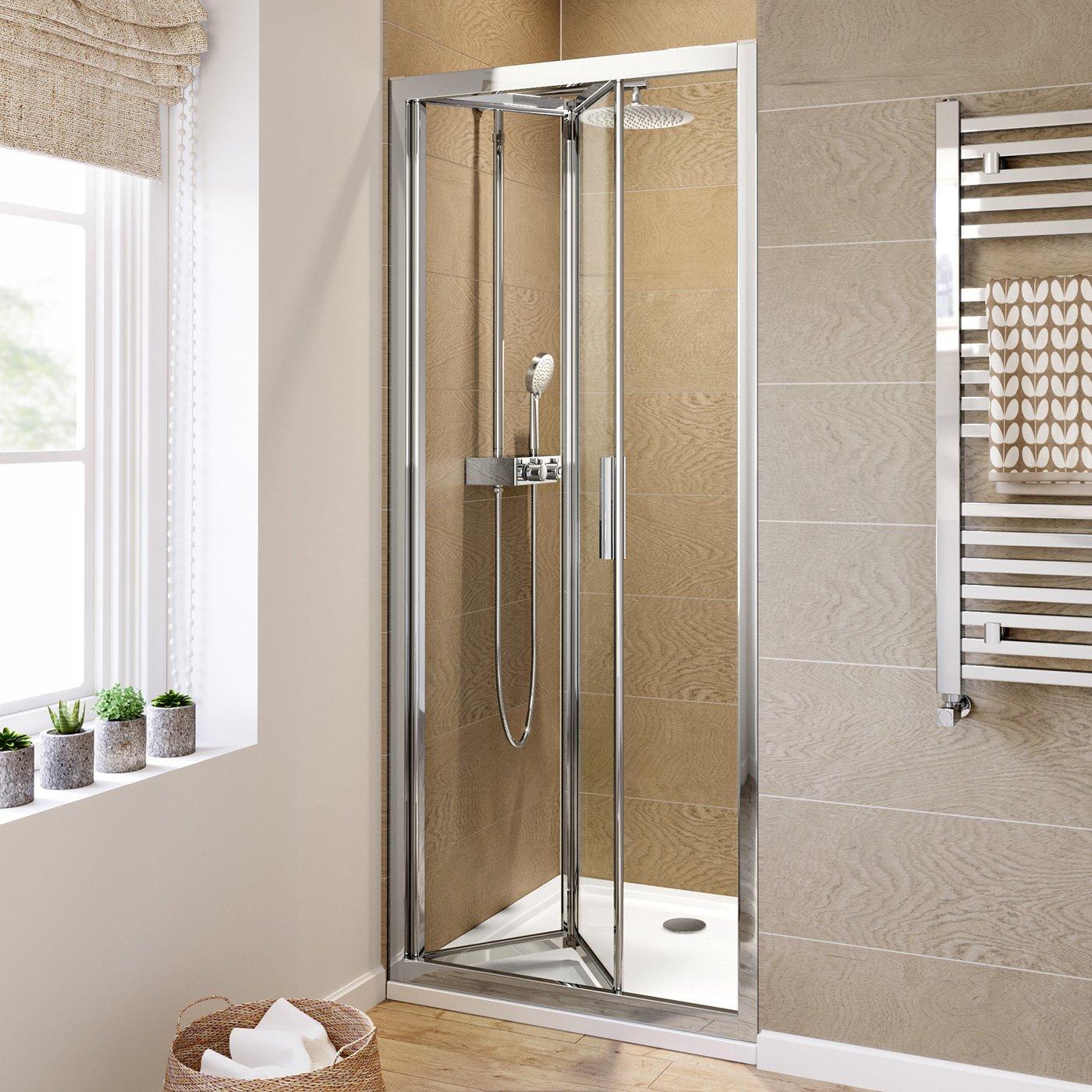 iBathUK 800mm Bifold Easy Clean 6mm Glass Shower Enclosure Reversible Folding Door