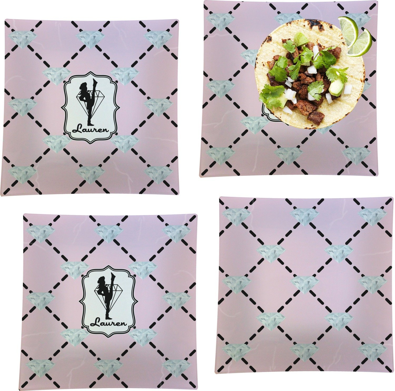 Diamond Dancers Set of 4 - Square Dinner Plates (Personalized)
