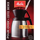 Melitta Coffee Maker, 10 Cup Pour- Over Brewer with Stainless Thermal Carafe, Steel Carafe