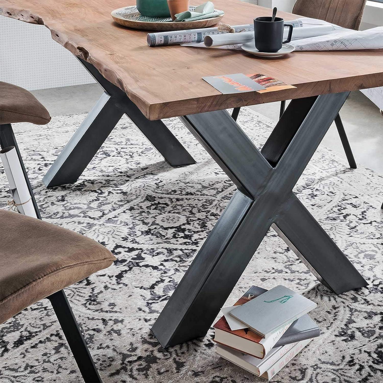 B180 oder B200 x H76 x T90 cm Tisch mit X Gestell in Schwarz lackiert Baumkantentisch aus Massivholz I Tisch Baumkante Natur Braun ge/ölt B160 M/ÖBEL IDEAL Esstisch ARO Tischplatte 25 mm /Ø