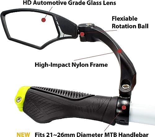 Hafny New Handlebar Bike Mirror, HD, Blast-Resistant, Glass Lens, HF-MR095