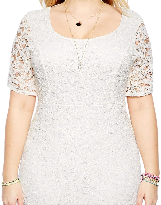 Nemidor Womens Full Lace Plus Size Wedding Maxi Dress