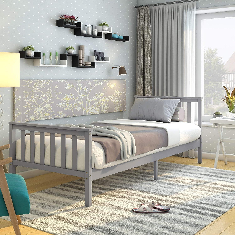Panana Single Bed Frame 9FT Bedstead Kids Child Teenagers Bedroom Furniture  Small Room(Grey)