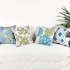 cygnus Outdoor Pillow Covers 18x18 inch Waterproof, Leaf and Flower Decorative PU Coating Waterproof Outdoor Pillows Covers for Patio Furniture Set of 4,Blue
