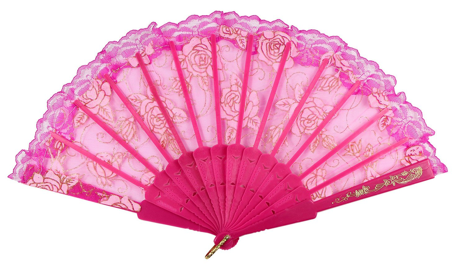 Hot Pink Newstarfactory Lace Flowers Design Plastic Folding Hand Held Fan with Exclusive Gift