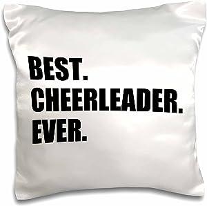 3dRose pc_179766_1 Pink Best Cheerleader Ever Greatest Head Or Team Cheerleading Girl Pillow Case, 16
