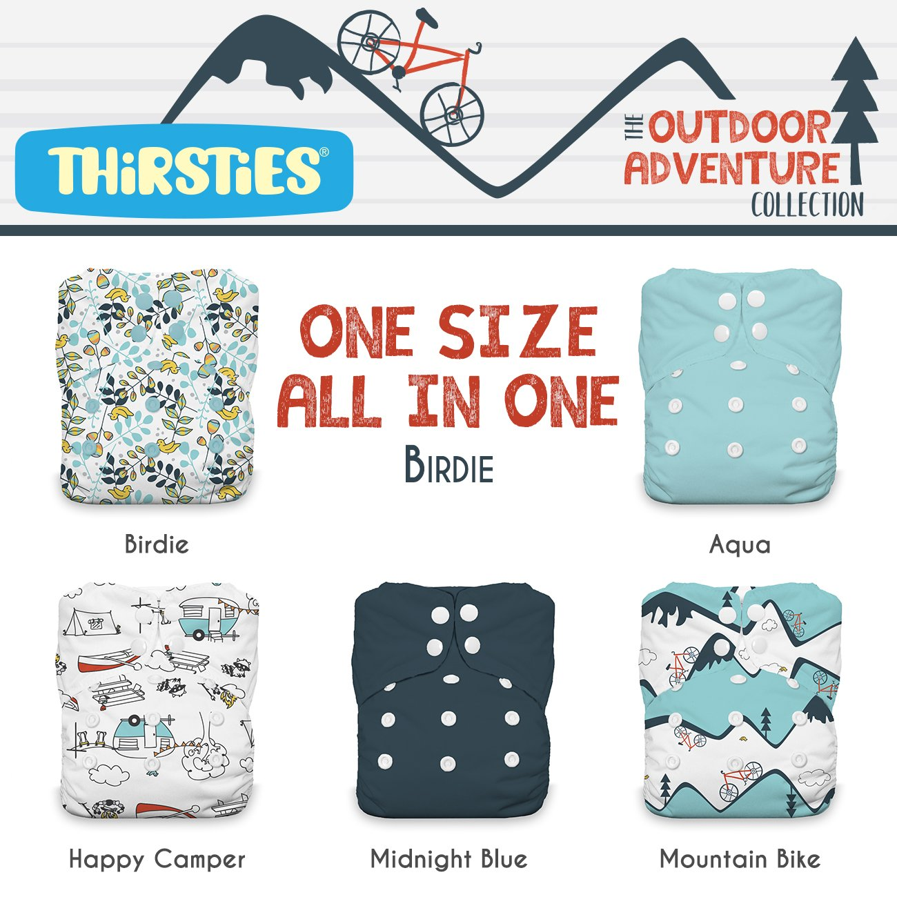 Thirsties Package, Snap One Size All In One, Outdoor Adventure Collection Birdie by Thirsties (Image #1)
