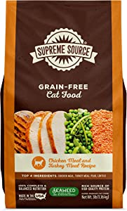 Supreme Source Grain Free Dry Cat Food, Chicken Meal & Turkey Meal Recipe, 3 Pound Bag