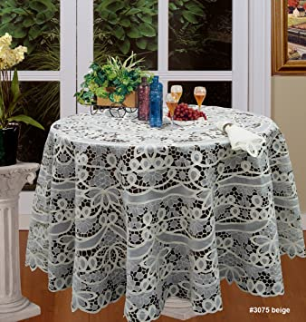 Battenburg Lace With Sheer Fabric Tablecloth Grape Vineyard Autumn Harvest  Thanksgiving Table Cloth 88u0026quot; ROUND