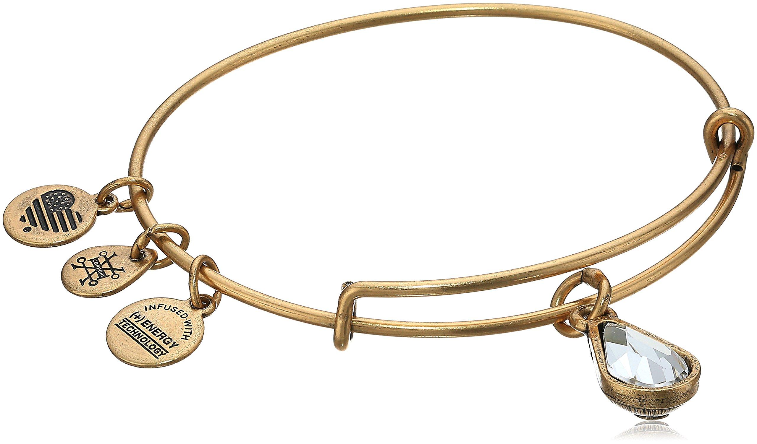Alex and Ani April Birth Month Charm with Swarovski Crystal Rafaelian Gold Bangle Bracelet