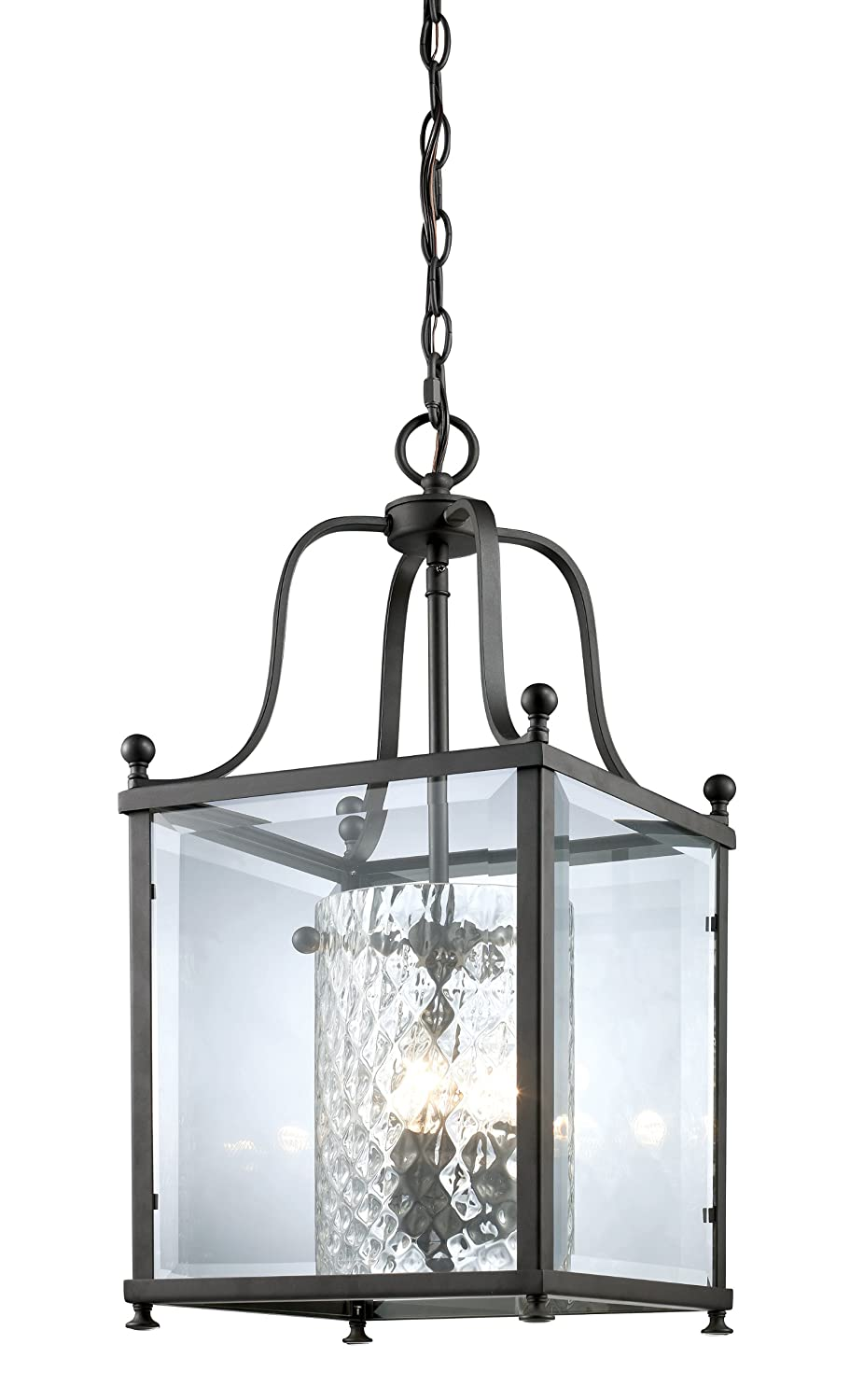 Z lite 177 3m fairview 3 light pendant metal frame bronze finish and clear beveled outside glass ceiling pendant fixtures amazon com