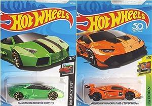 Hot Wheels Lamborghini Huracan LP 620-2 Super Trofeo Orange 268/365 and Lamborghini Reventon Roadster Green 18/250 2 Car Bundle Set