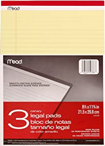 Mead Canary Legal Pads, 8.5 X 11.75 Inches, 3 Pack, 50 Sheets (59386)