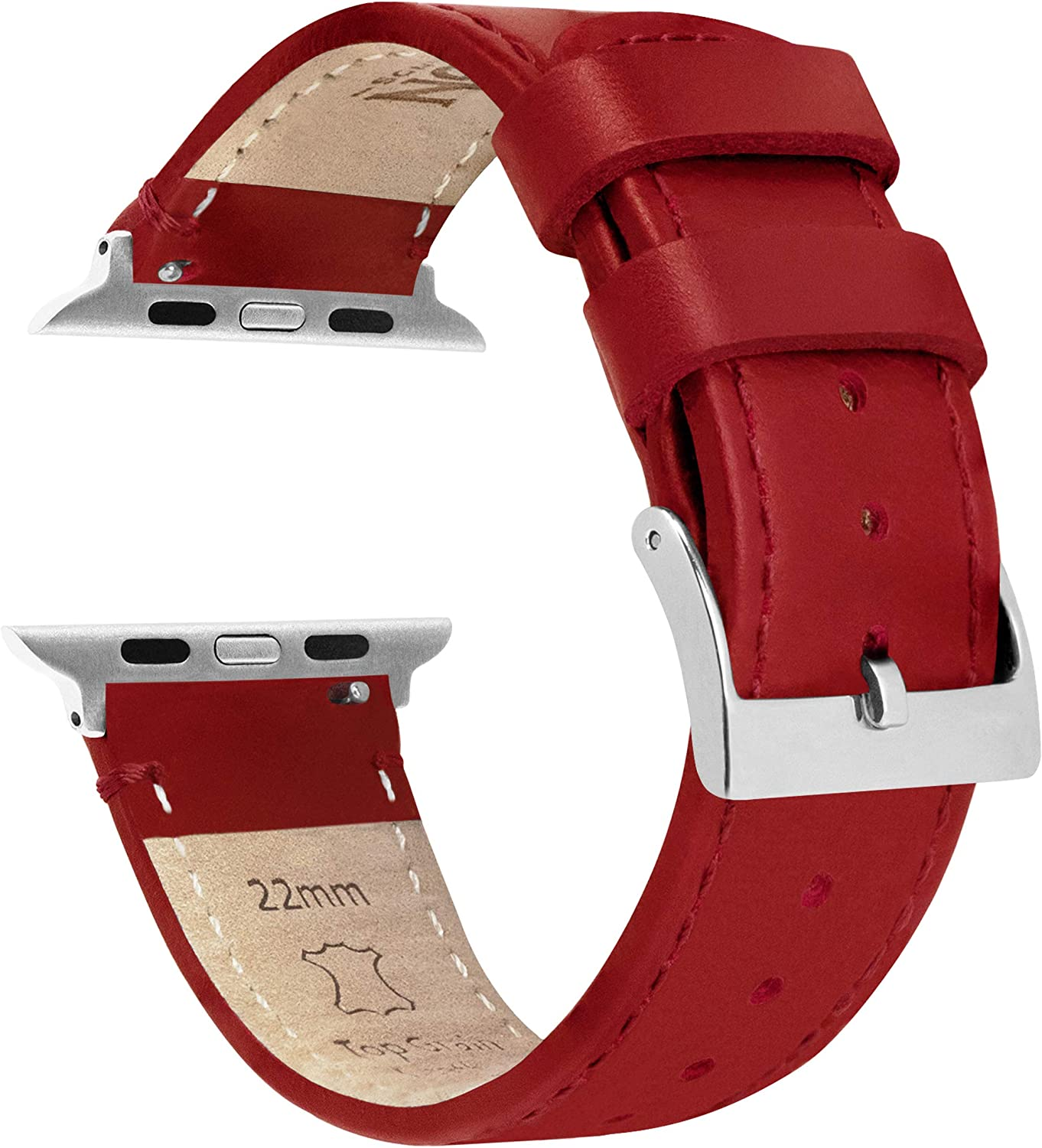 38mm/40mm Crimson Red - Barton Top Grain Leather Watch Bands Compatible with All Apple Watch Models