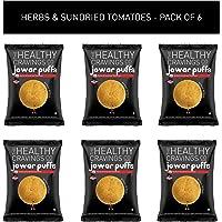 Healthy Cravings Premium Crunchy Jowar Puffs (6 Packs) - Herbs & Sundried Tomatoes (150g)