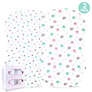 Baby Bassinet Sheet Set for Girl, 2 Pack, Universal Fitted for Oval, Hourglass & Rectangle Bassinet Mattress