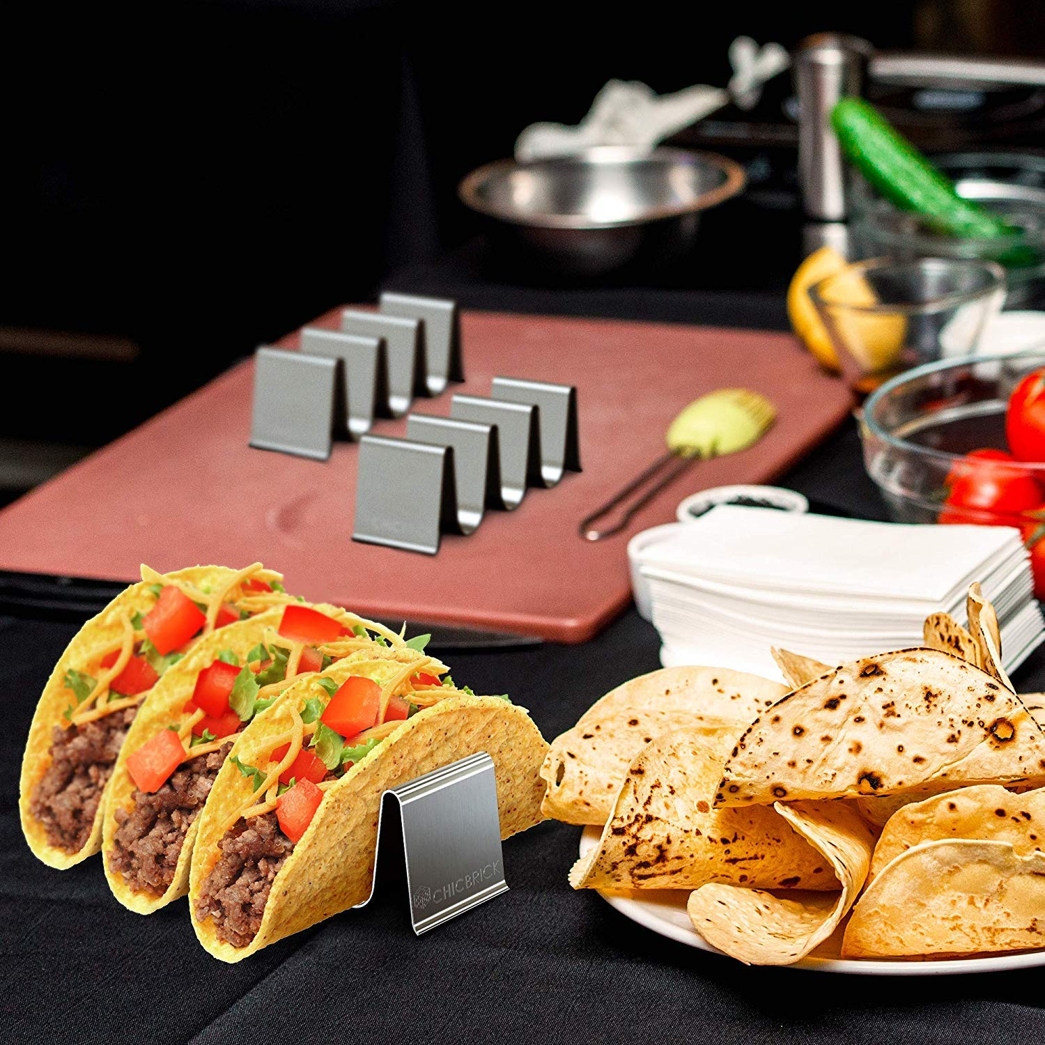 Set of 2 Taco Stand Ideal for Taco Tuesday /& Kids Party Oven Baking Taco Stand Up Plate Truck Style Dishwasher and Grill Safe Restaurant and Home CHICBRICK Curved/_2 Tortilla Rack Taco Holder Stainless Steel Tray