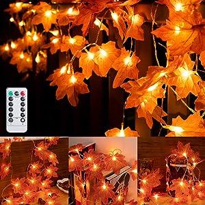 SAMYERLEN Maple Leaves String Light Thanksgiving Decorations 6.6FT/20LED Battery Operated String Lights Fall Garland Lights Decor,Home Indoor Outdoor Fall Decor Thanksgiving Christmas Party Decoration