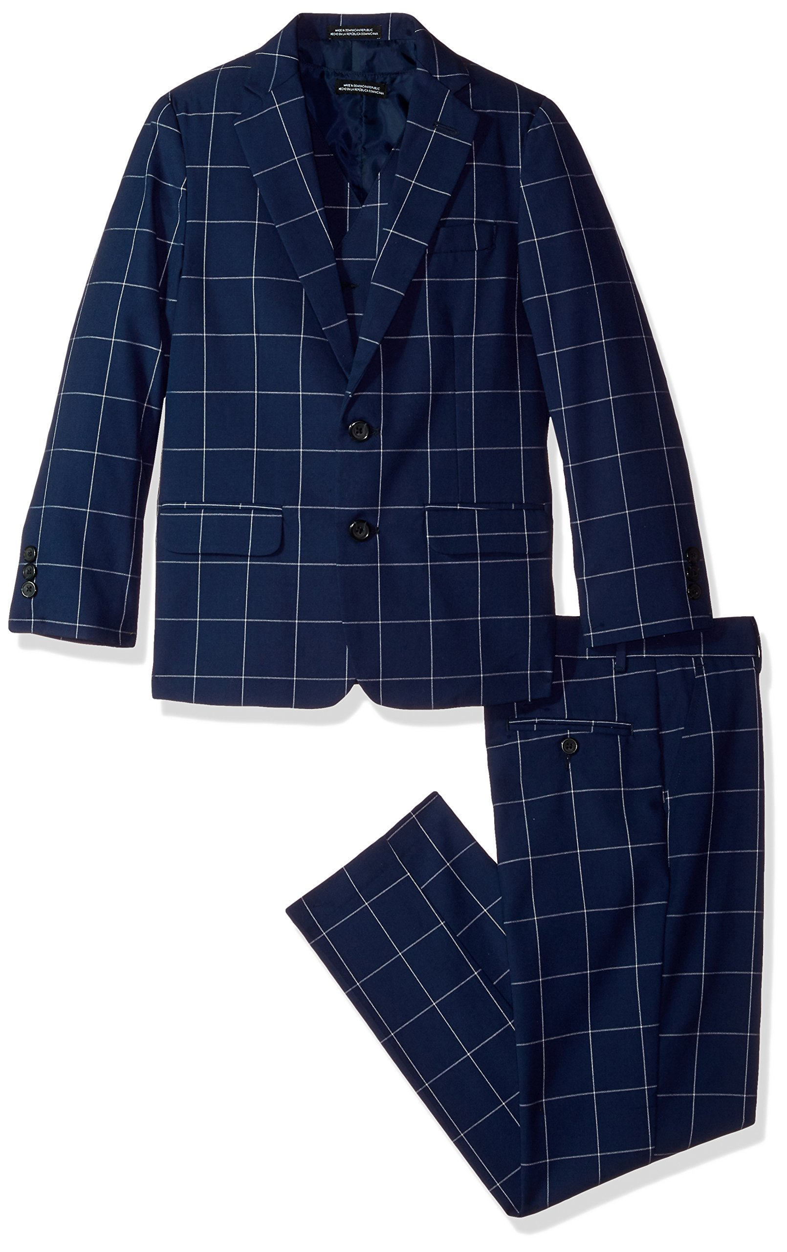 Steve Harvey Big Boys' Three Piece Suit Set, Dark Blue Windowpane, 14