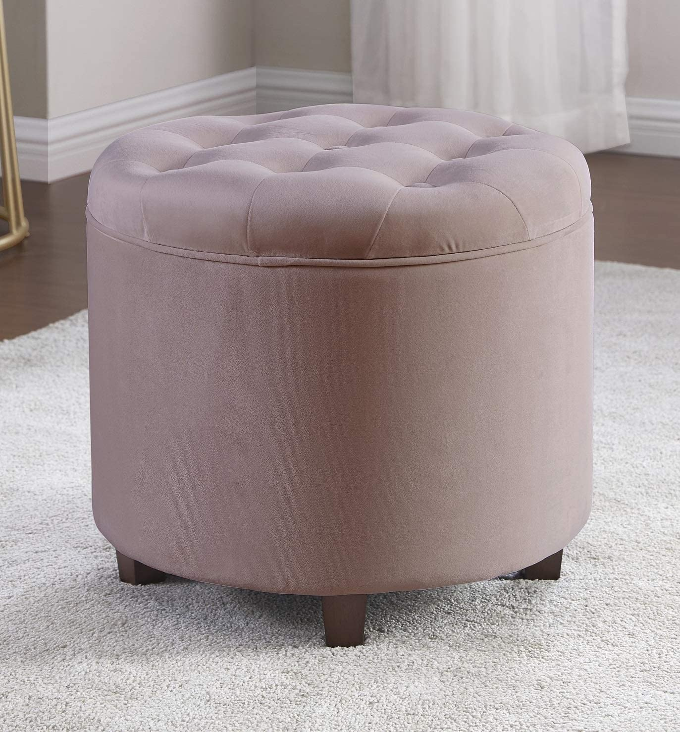 Ornavo Home Donovan Round Tufted Velvet Storage Ottoman Foot Rest Stool/Seat - the best ottoman chair for the money