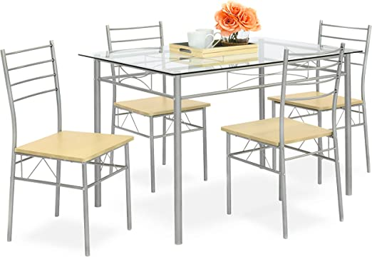 Best Choice Products 5-Piece Glass Top Dining Table Breakfast Set Furniture  for Kitchen, Dining Room w/ 4 Chairs, Steel Frame - Silver