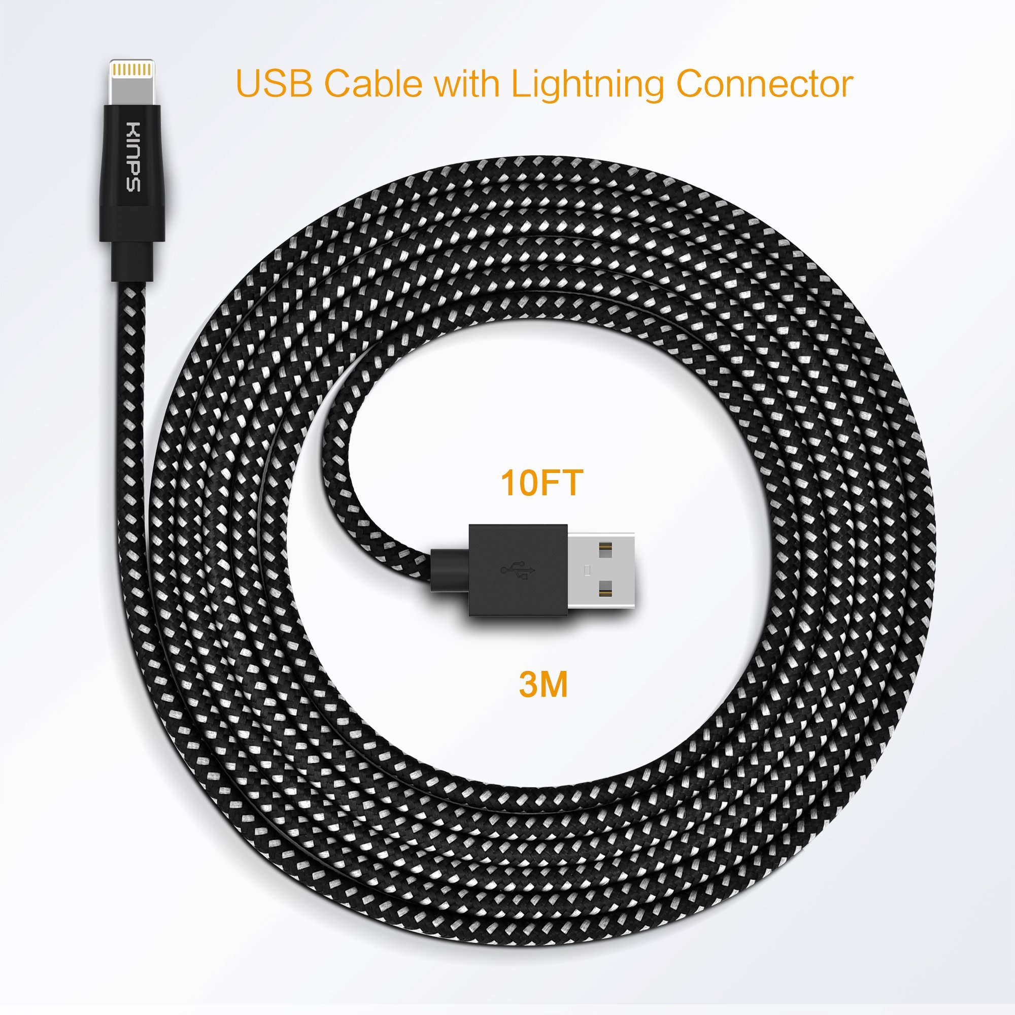 Kinps Apple MFi Certified Lightning to USB Cable 10ft/3m iPhone Charger Cord Super Long for iPhone X / 8 / 8 Plus / 7 / 7 Plus / 6S / 6S Plus / 6 / 6 Plus / SE, iPad Pro / Air / Mini (Nylon-Black) by Kinps (Image #8)