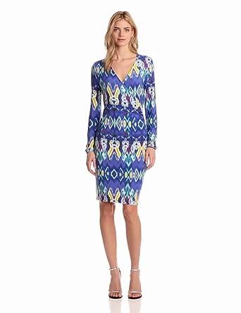 Jones New York Women's V Neck Dress, Vivid Blue Combo, X-Large