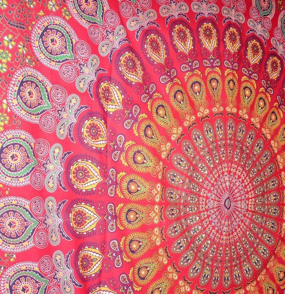Handicrunch Dorm Decor by ELEGANT DESIGNS Throw Bedspread Premium Quality Red Peacock Mandala Bohemian Tapestries,Hippie Wall Hanging Tapestries Hippie Wall Tapestry