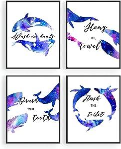Sea marine life Bathroom Watercolor Wall Decor,Wash Hang Flush Brush Bathroom Signs,Blue Ocean Theme Baby Nursery Kids Bathroom Art Print,Shark Whale Dolphin Wall Poster,Great Gift for Bathroom Decor (Set of 4, 8 x10 in, Unframed)