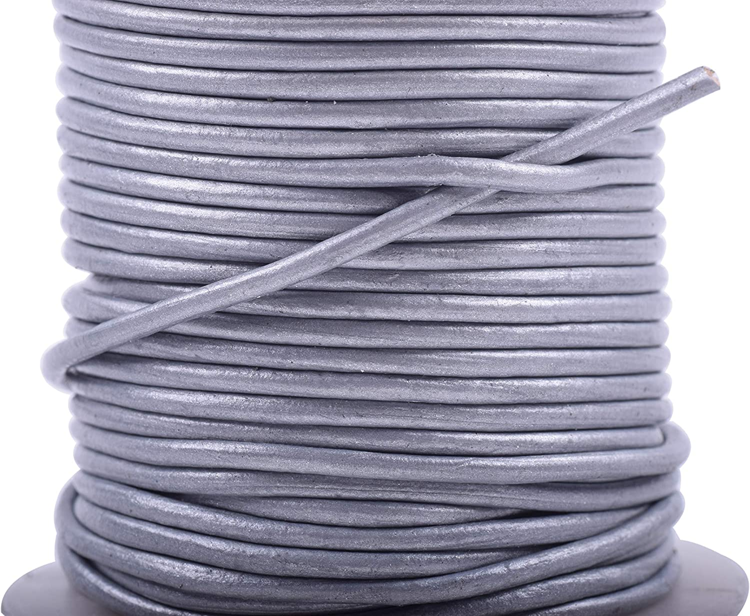 KONMAY 25 Yards Solid Round Genuine//Real Leather Cord Braiding String 1.5mm, Petrol Blue