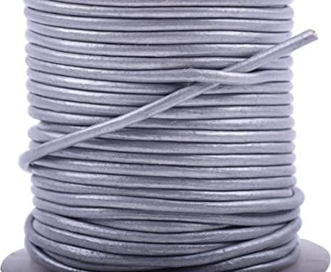 KONMAY 1 Roll 25 Yards 1.0mm Round Genuine//Real Leather Cord Beading String Black