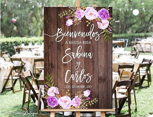 Monsety Bienvenidos A Nuestra Boda - Cartel de Boda rústico con Texto en inglés Welcome, diseño de Flores y Flores moradas