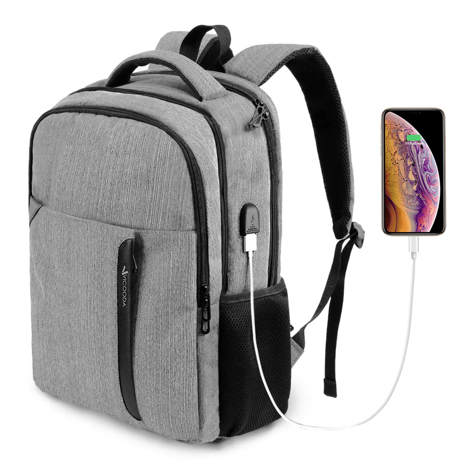 Laptop Backpack, Business Anti Theft Waterproof Travel Backpack with USB Charging Port for College School Computer Bag for Men Women Fits 15.6-Inch Laptop Notebook Grey