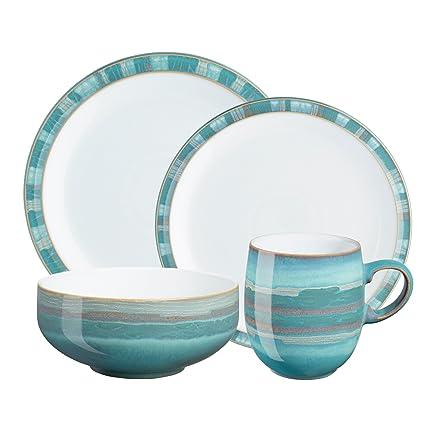 Amazon.com: Denby Azure Coast 4-Piece Place Setting, Blue ...