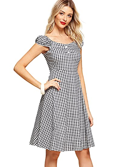 aae453aa7c6 SheIn Women's Vintage Off Shoulder Cap Sleeve Plaid Swing Party Dress
