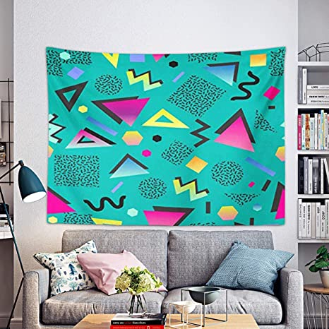 Amazon Com Remain Unique Tapestry Colorful 1980s Retro Vintage 80s 90s Style Abstract Good Design And Green 1990s Wall Hang Decor Indoor House Made In Soft Home Kitchen