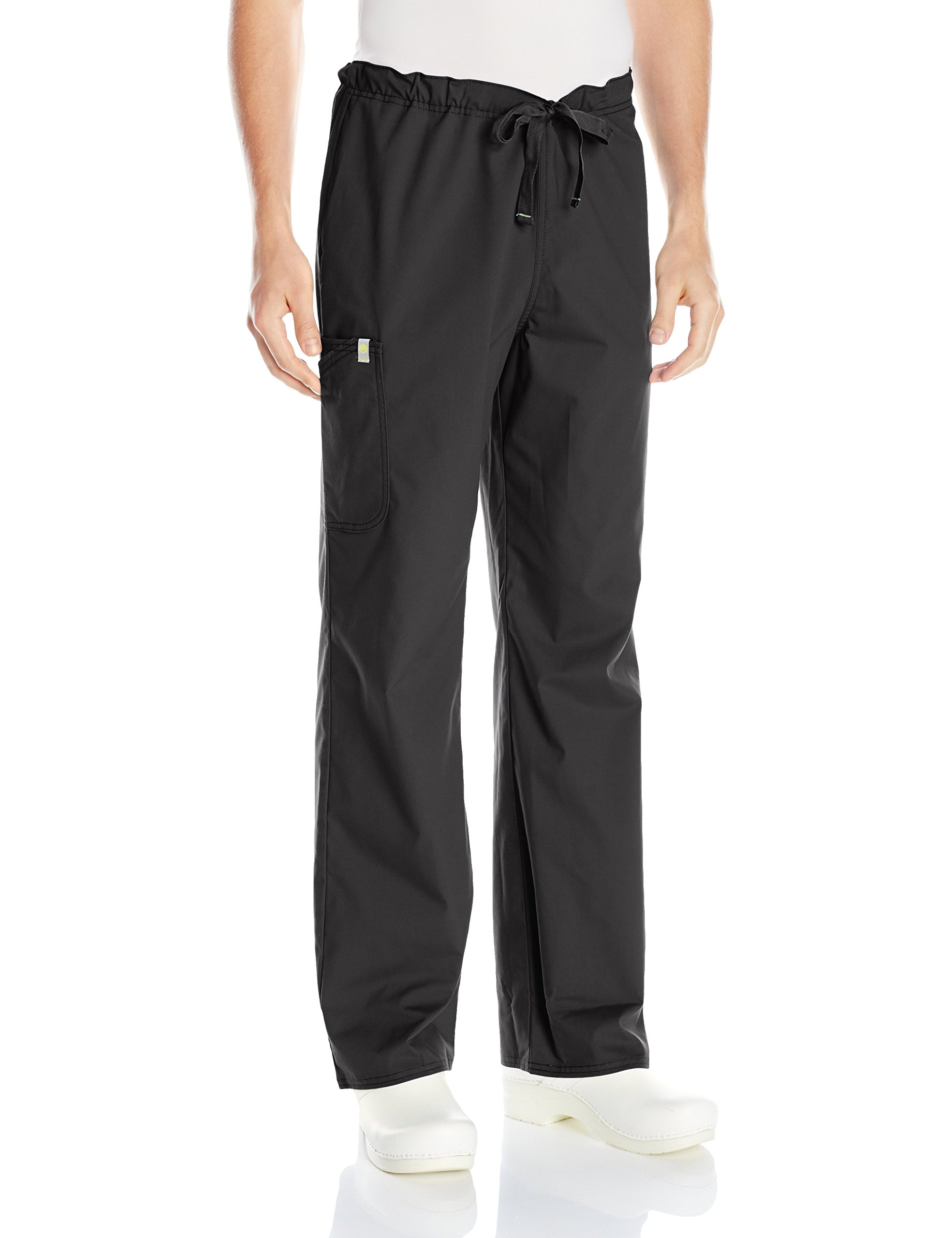 Code Happy Men's Bliss with Certainty Drawstring Scrub Cargo Pant, Black, Large