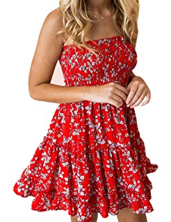 83839c814c6 Murimia Womens Summer Strapless Off Shoulder Floral Print Beach Mini Dress