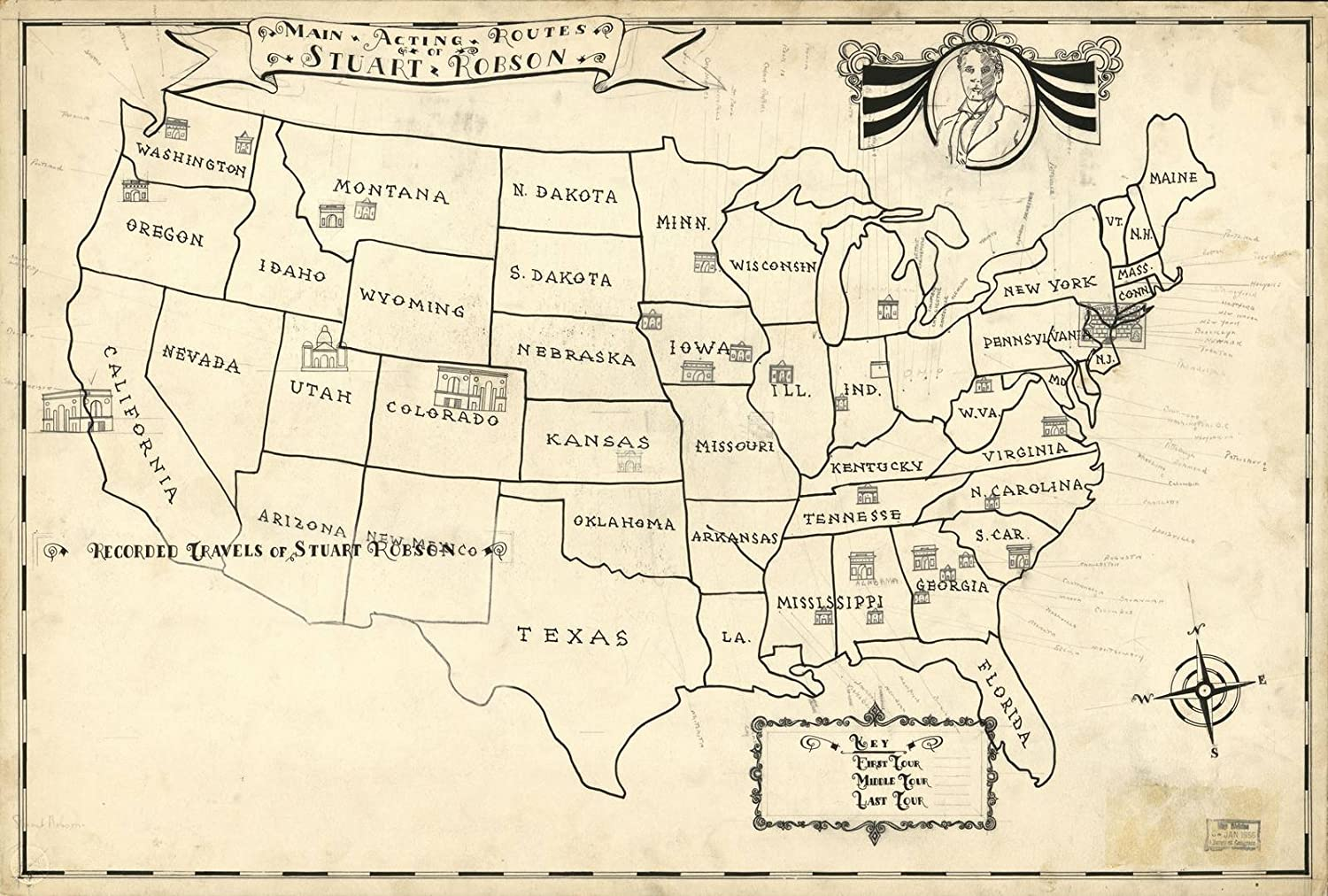 Amazoncom Historic 1935 Map Tours In The United States By Famous